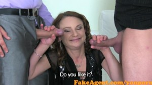 FakeAgent Horny mature amateur takes 2 cocks in Casting
