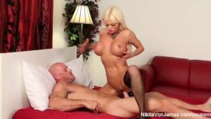 Russian Milf Nikita takes a big dick before eating his cum