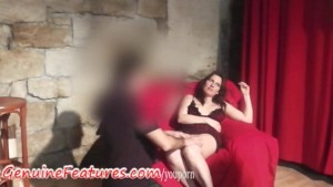 Czech brunette teased and licked in backstage