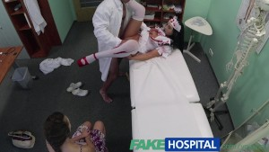 FakeHospital Patient shares doctors cock with halloween zombie nurse