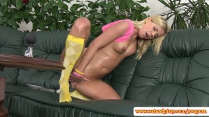 Watersports time for shy blonde teen