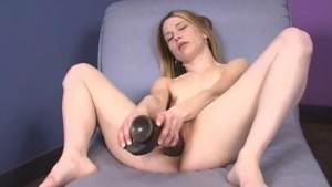 Teen with a big brutal dildo