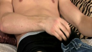 Happy Hunk Strokes Wanker on Couch