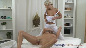 Massage Rooms Czech beauty has her hole filled with petite lesbian fingers