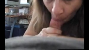 Playful hubby getting a blowjob from his busty wifey