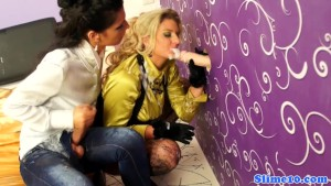 Cumcovered bukkake sluts at gloryhole with strapon
