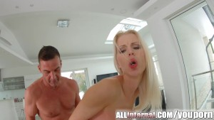 All Internal Nordic blonde happily laps up huge creampie