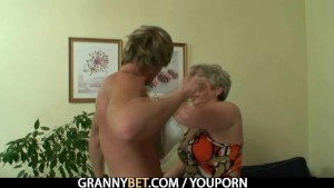 He drills her shaved old pussy