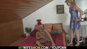 She rides daughter's BF cock and gets busted