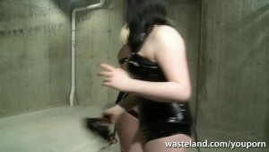 Bound blonde sex slave flogged and pegged by lesbian Mistress