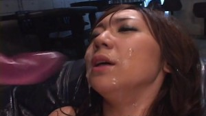 Asian bitch ultra toyed and cum spunked in her face