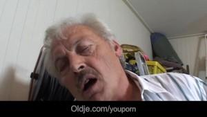 Tattoed short haired student milking grandpa dick