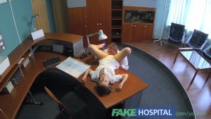 FakeHospital Hot sex with doctor and nurse in patient waiting room