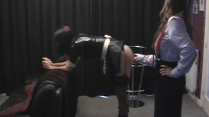 Busty Mistress gives her sexy latex crossdresser pantie maid ass spanking
