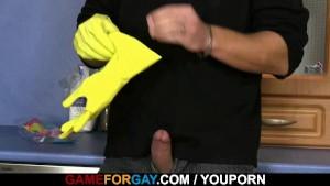 Hetero plumber takes his first gay cock