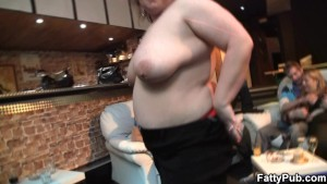 Big booty chick strips and gives head in the bar