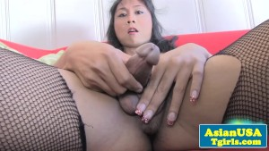 Amateur asian shemale in fishnets wanks cock
