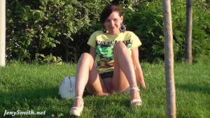 Jeny Smith public park upskirt flash