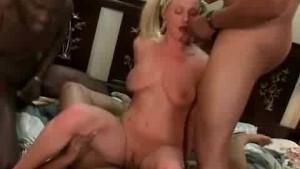 Hot blonde taking gangsta bang