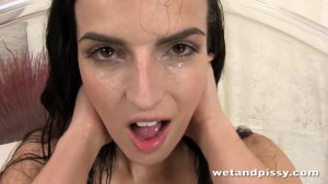 Hot chick pees in a big baloon with joy