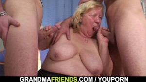 Huge old grandma swallows two cocks