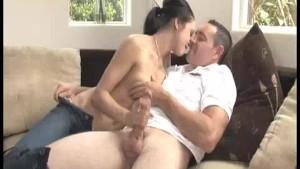 Sexy Babe Jerks Off His Wake-up Hard Rod
