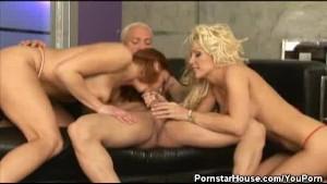 Two Vixens Cock Sucks A Lucky Stud
