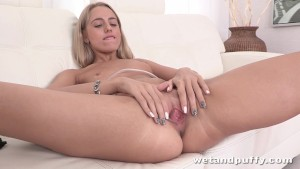 Sultry blonde darling playing with a pump
