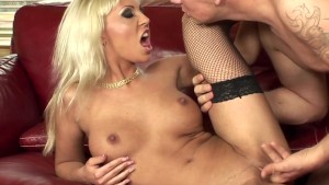 Adrianna fucking on a couch in fishnet nylons