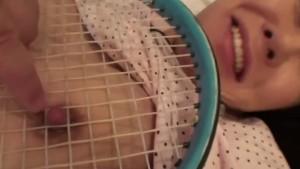 Uncensored Japanese milf affair with tennis racket Subtitled
