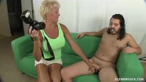 Horny Milf Wants To Suck Model's Big Cock