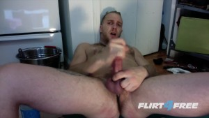 Hot Punk Dude Strokes His Cock and Dildos His Ass in the Kitchen