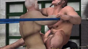 Brutal fuck of muscle guys in boxing ring. 3D Gay Animation