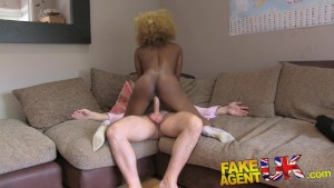 FakeAgentUK Perfect ass and tits ebony chick demands good hard fucking