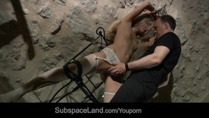 Roughly teached to obey big tits slave opens mouth for bondage blowjob