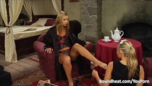 Blonde Maid Cleaning Mistresses Feet And Kissing Pussy