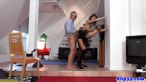 Glam eurobabe assfucked in classy threeway