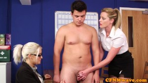 Dom CFNM babes sucking and tugging in office