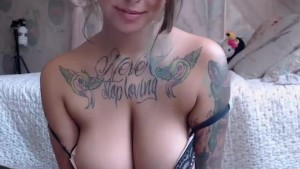 Suicidegirl with giant boobs and big tattoes