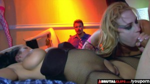 BrutalClips - She shares a cock and load while her husband watches