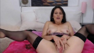 Long Haired Brunette Having an Orgasm While Going Solo