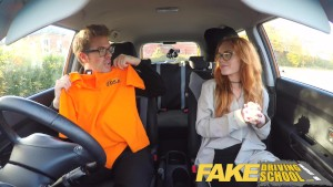 Fake Driving School Nerdy teen ginger student seduces her instructor for creampie