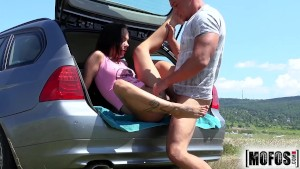 Mofos- Euro teen Angelina Wild gets fucked in the back of a car