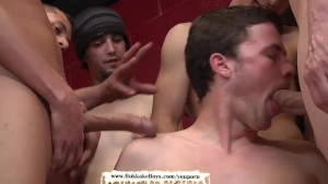Cute twink gets his first bareback gangbang - Bukkake Boys