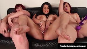 Cuban Cuntplugger Angelina Castro & 2 Masturbating LezBfriends make 3 Plump Pussies!
