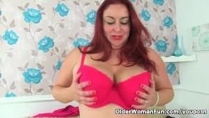 British milf Sexy Scorpio works her wet cunt with a dildo