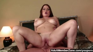 AdultMemberZone - Busty redhead shakes her boobs for a big load.