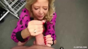 Mature slut handjob