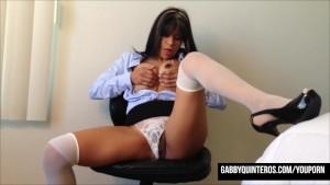 Horny Secretary Latina Gabby Quinteros Fingers Her Pussy!