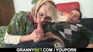 Lonely 70 years old granny slammed from behind